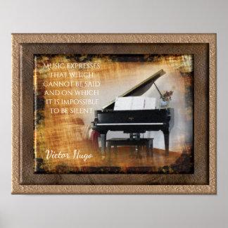 Expression de musique -- Citation de Victor Hugo - Poster