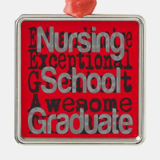 Extraordinaire licencié d'école d'infirmières ornement carré argenté