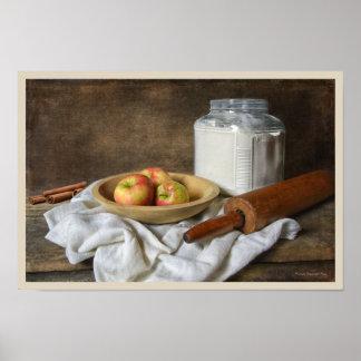 Fabrication d'une tarte aux pommes poster