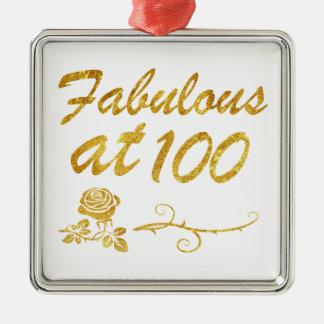 Fabuleux à 100 ans ornement carré argenté