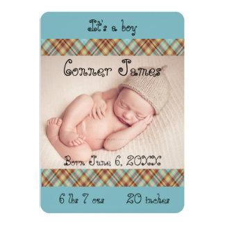 Faire-part bleu de photo de bébé de plaid