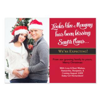 Carte Faire-part de baiser de grossesse de Noël de maman