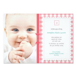 Faire-part de bébé de guingan : Rose