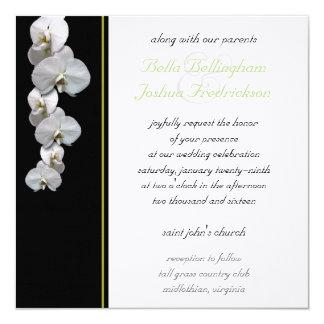Faire-part de mariage blanc 5.25x5.25 d'orchidée