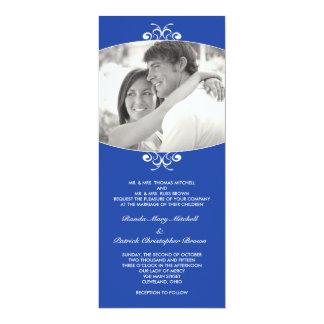 Faire-part de mariage bleu de photo