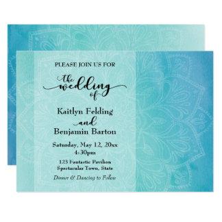 Faire-part de mariage bleu et turquoise de mandala