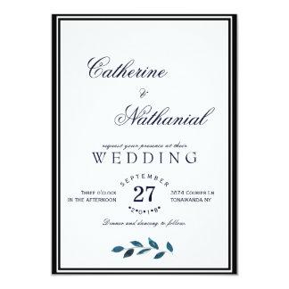 Faire-part de mariage bleu moderne élégant