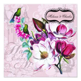 Faire-part de mariage carré de magnolias de