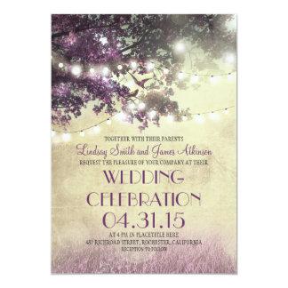 Faire-part de mariage d'arbre de lumières pourpres