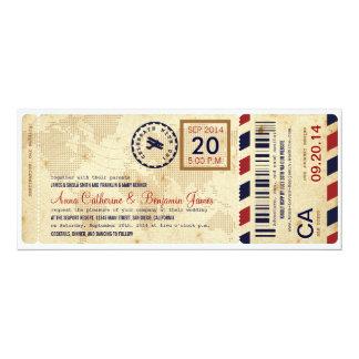 Faire-part de mariage de billet de carte carton d'invitation  10,16 cm x 23,49 cm