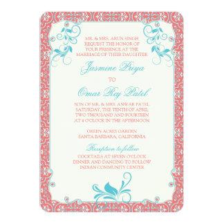 Faire-part de mariage de corail floral rococo