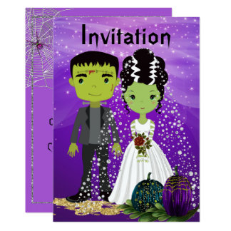 Faire-part de mariage de Halloween avec la jeune