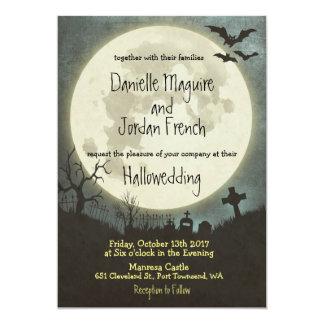 Faire-part de mariage de Halloween avec la lune,