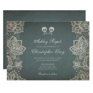 Faire-part de mariage de Halloween - gris vintage