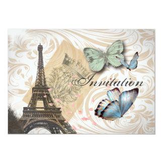 Faire-part de mariage de papillon de tour de Paris