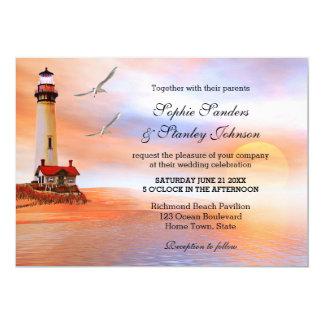 Faire-part de mariage de phare de plage