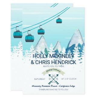 Faire-part de mariage de ski d'hiver de montagne