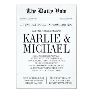 Faire-part de mariage de style de journal