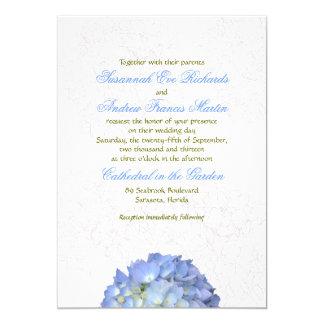 Faire-part de mariage d'hortensia de lune bleue