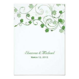 Faire-part de mariage d'Irlandais de trèfle