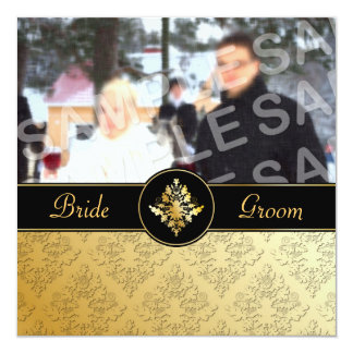 Faire-part de mariage d'or de photo de damassé
