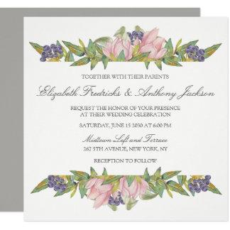 Faire-part de mariage doux de carré de magnolia