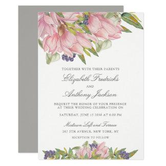 Faire-part de mariage doux de magnolia