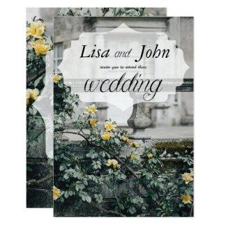 Faire-part de mariage élégant de roses jaunes