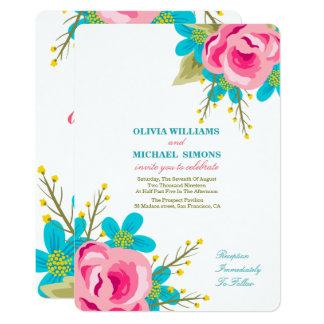 Faire-part de mariage floral avec des fleurs