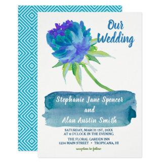Faire-part de mariage floral bleu d'aquarelle