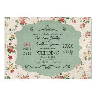 Faire-part de mariage floral chic minable vintage