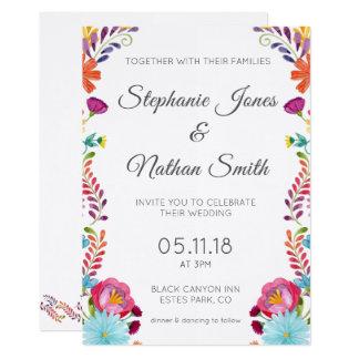 Faire-part de mariage floral coloré