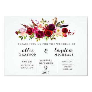 Faire-part de mariage floral d'aquarelle de