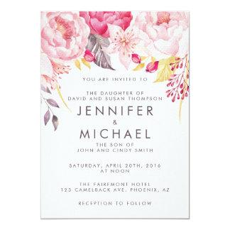Faire-part de mariage floral d'aquarelle rose de