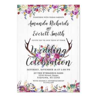 Faire-part de mariage floral de bouquet d'Antler