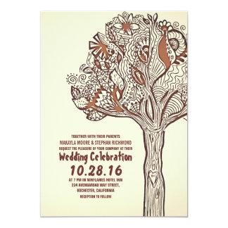 Faire-part de mariage floral de branches d'arbre
