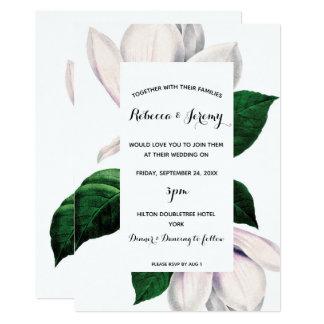 faire-part de mariage floral de magnolia vintage