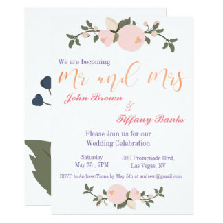 Faire-part de mariage floral de typographie
