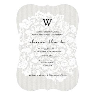 Faire-part de mariage floral élégant de neutre de