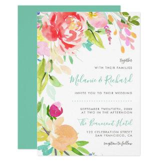 Faire-part de mariage floral moderne de ressort