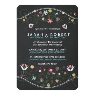 Faire-part de mariage floral rustique de tableau