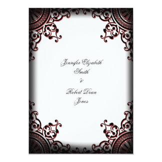 Faire-part de mariage gothique noir et rouge de