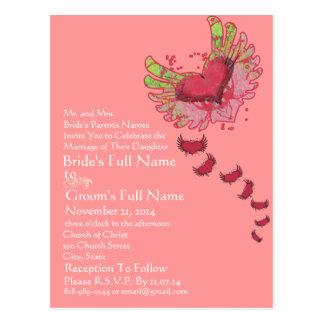 Faire-part de mariage grunge de rose de framboise carte postale