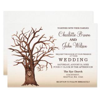 Faire-part de mariage initial découpé par arbre