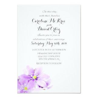 Faire-part de mariage minimaliste floral lilas