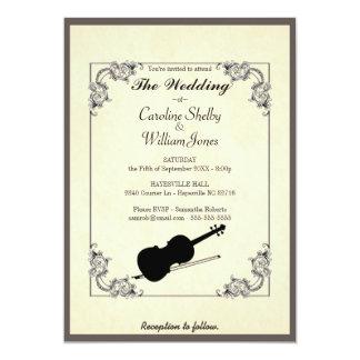 Faire-part de mariage moderne élégant de violon