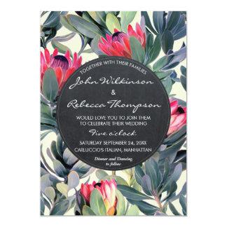 Faire-part de mariage moderne floral de feuille