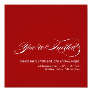 Faire-part de mariage moderne simple blanc rouge