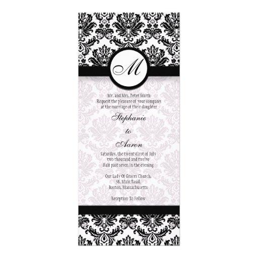 faire part de mariage noir et blanc de monogramme carton d 39 invitation 10 16 cm x 23 49 cm zazzle. Black Bedroom Furniture Sets. Home Design Ideas