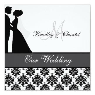 Faire-part de mariage noir, gris, et blanc de carton d'invitation  13,33 cm